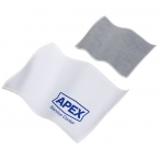 Promotional products: Product in Action; QUICK CLEAN DUAL SIDED MICROFIBER CLOTH WHITE/GRAY