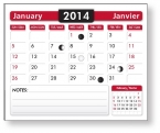 Promotional products: 12-page plus 1 year cover page cardboard back Bilingual (French/Engl.) 2016 Calendar Pads 2.875