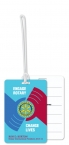 Promotional products: Custom Write-On Luggage Tag .020 white vinyl plastic 12.1 to 16 sq/in / loop attached; Four color process
