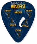 Promotional products: Large Guitar Pick Shape with 6 Picks .030 white compressed laminated plastic (3.75