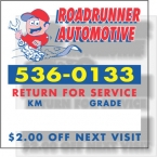 Promotional products: .008 Clear Cling Vinyl Service Decal *Special / read from inside & outside of vehicle (1.9