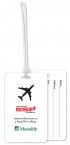 Promotional products: .020 White Gloss Vinyl Luggage Tags / with back imprint and write-on surface included (2.75