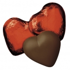 Promotional products: Red-foiled dark chocolate hearts