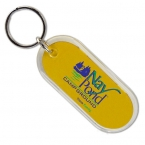 Promotional products: Long oval crystal keytag