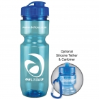 Promotional products: 22 oz translucent bike bottle (flip top lid)