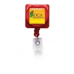 Promotional products: Square Domed Retractable Badge Holder with Slide on Clip