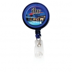 Promotional products: Round Domed Retractable Badge Holder with Slide on Clip
