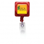 Promotional products: Square Domed Retractable Badge Holder with Alligator Clip