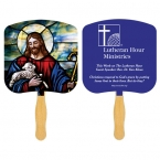 Promotional products: Religious Sandwiched Hand Fan with One Spot Color Second Side Imprint