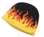 Promotional products: Flame'n jacquard knit acrylic beanie