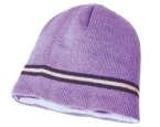 Promotional products: Acrylic knit toque with multiple contrast color stripe/full polar fleece lining