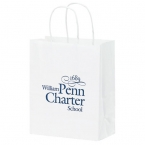 Promotional products: 8 X 4 1/2 X 10 1/2 White Kraft Shopper