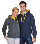Promotional products: Full Zip Pre Washed Contrast Hooded Sweatshirt