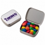 Promotional products: Small pocket hinged tin with m&m's