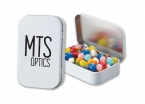 Promotional products: Rectangular tin with mints or jelly beans
